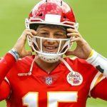 Kansas City Chiefs' Patrick Mahomes practices in...