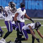 Baltimore Ravens' celebration on Tennessee Titans'...